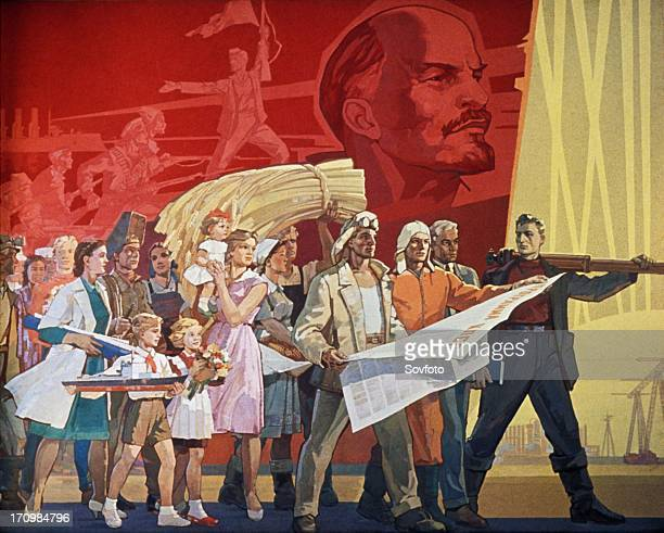 Builders of communism' a soviet poster from 1967