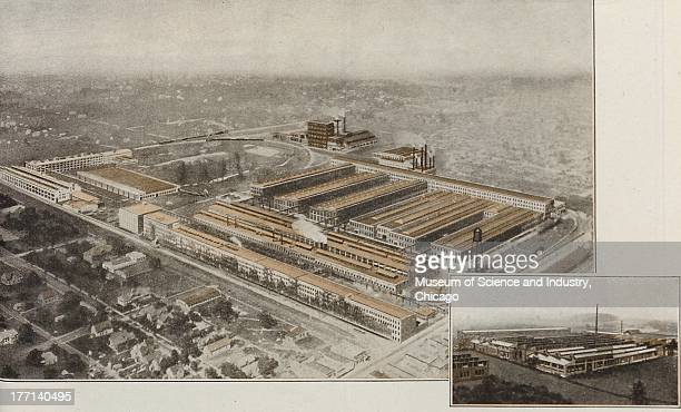 Builders Of Power Color illustration of a aerial view of the AllisChalmers Monarch Tractor factory showing the entire exterior and surroundings of...
