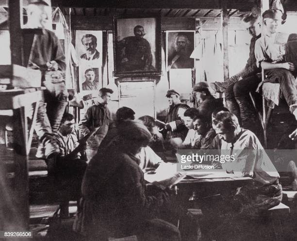 Builders of the White Sea-Baltic Canal in a shack where they were accommodated. The canal was constructed between 1931 and 1933 by forced labor of...