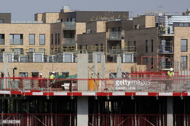 Builders work on a construction site in London on August 17 2016 From computers and cars to carpets and food Britain's decision to leave the EU is...