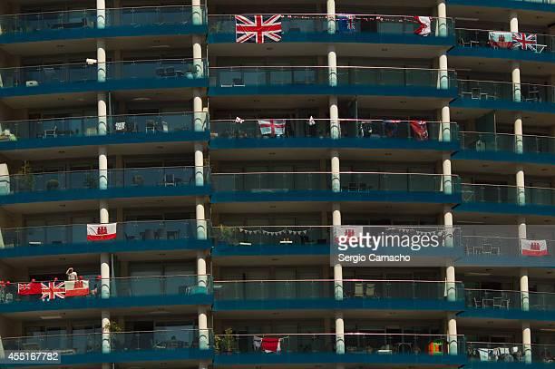 Buildin whit Gibraltarian flags during Gibraltar National Day celebrations on September 10 2014 in Gibraltar The official Gibraltar National Day...