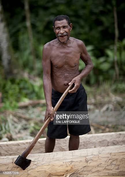 Building a boat in Papua New Guinea on October 03 2009 In the area of Alotau we crossed villagers who were carving a giant boat It is still used in...