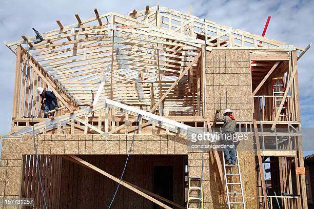 building a small cost effective two storey home - inexpensive stock photos and pictures
