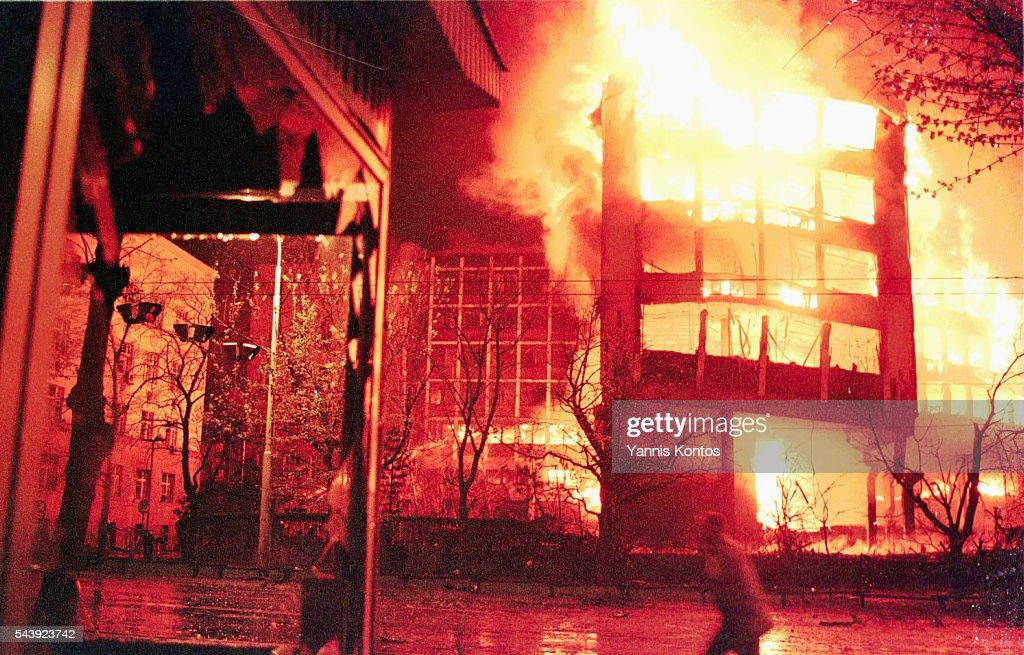 Ministry of the Interior Ablaze in Belgrade : News Photo