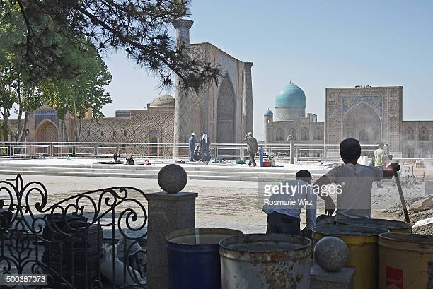 Building activities at the Registan Ensemble. The whole pavement is being replaced. The Registan was the heart of the ancient city of Samarkand, its...