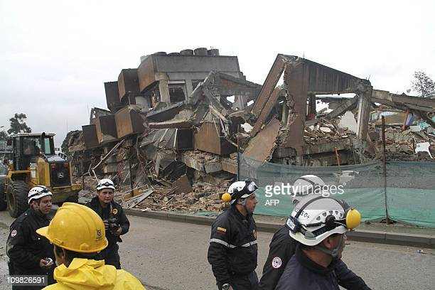 A building after being demolished by controlled explosions on March 6 2011 in Bogota 25 kilos of explosives were employed in the demolition carried...