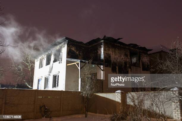 Building after fire, in Kharkiv, Ukraine, on January 21, 2021. A fire at a private nursing home in the Ukrainian city of Kharkiv killed 15 people and...