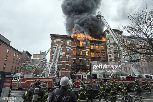 Building at 121 Second Avenue in East Village, near Seventh Street collapsed after it was rocked by a blast and a fierce fire that sent black smoke...