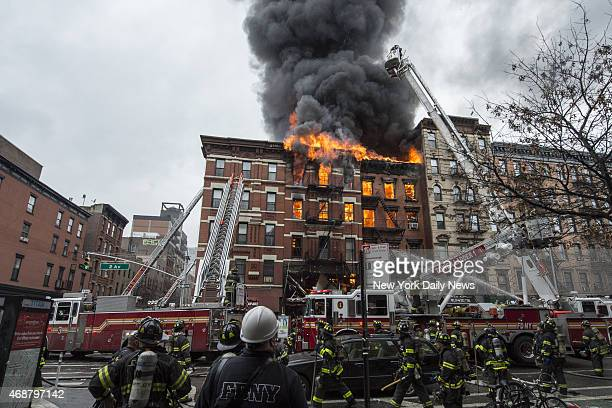 Building at 121 Second Avenue in East Village near Seventh Street collapsed after it was rocked by a blast and a fierce fire that sent black smoke...