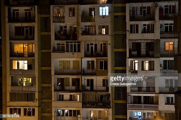 building at night - tbilisi stockfoto's en -beelden