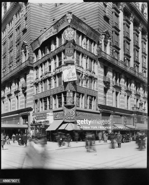 Building at the corner of Broadway and 34th Street surrounded by Macy's New York New York 1895