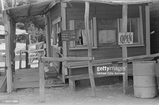 A building at the Spahn Movie Ranch owned by American rancher George Spahn and residence of the Manson Family Los Angeles County California US 28th...