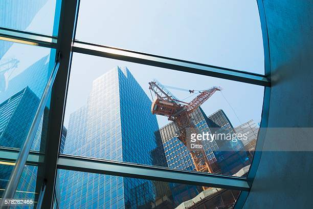 Building being constructed, low angle view, New York, USA