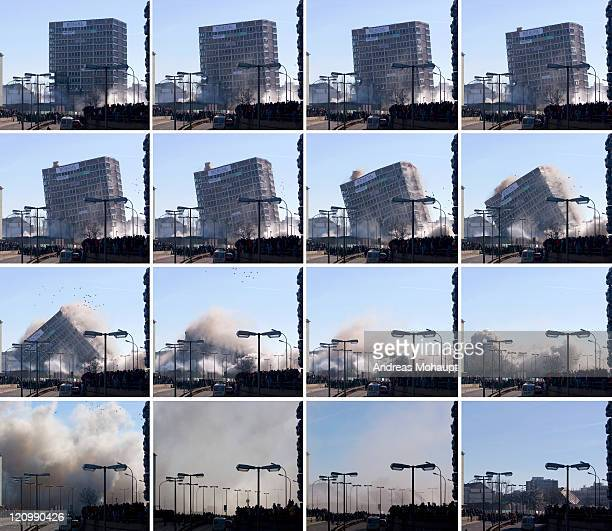 building being demolished - collapsing stock pictures, royalty-free photos & images