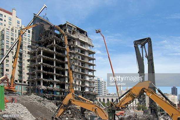 building being demolished - takedown stock pictures, royalty-free photos & images