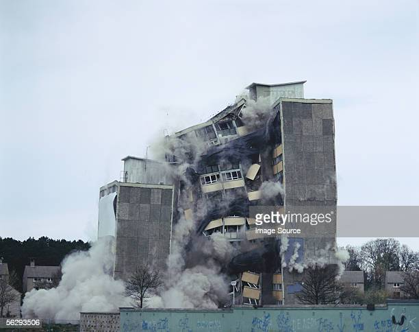 building being demolished - house collapsing stock pictures, royalty-free photos & images