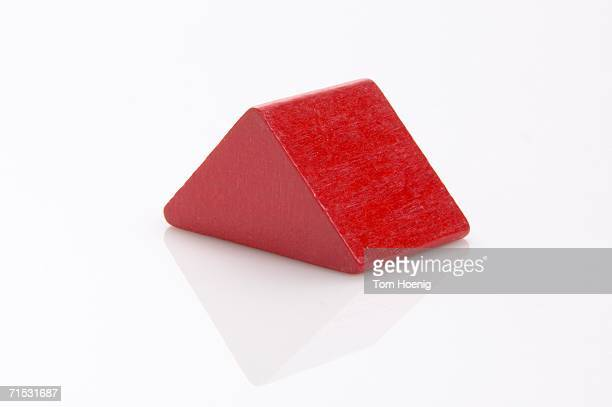 Building block, red triangle, close-up
