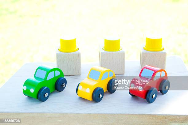 Building blocks and toy cars
