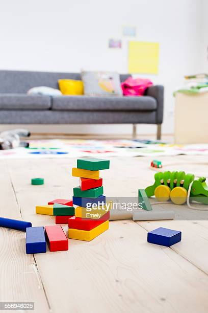 Building blocks and toys on floor