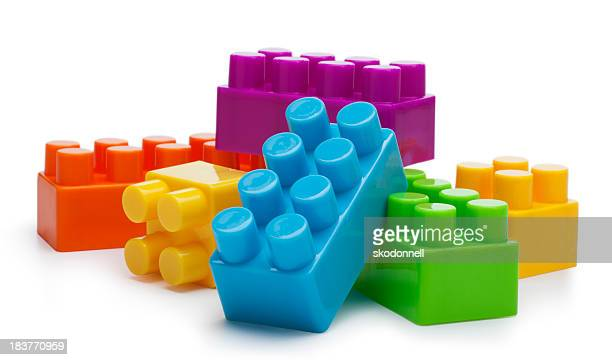 building blocks on a white background - toy stock pictures, royalty-free photos & images