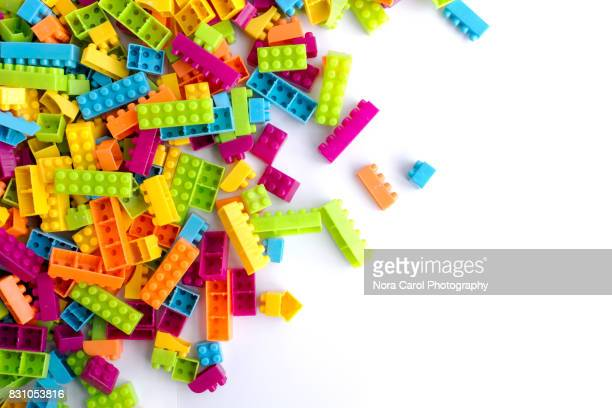 Building Blocks With Copy Space on a White Background