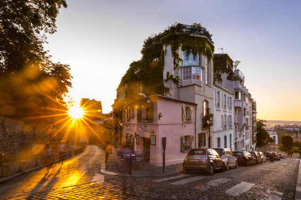 Building by road against clear sky during sunset, Paris, France