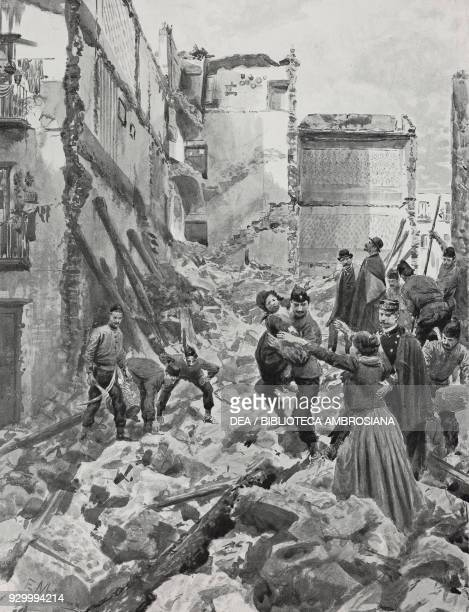 Building collapsing in Naples February 16 Italy drawing by Edoardo Matania from L'illustrazione Italiana Year XXIX No 9 March 2 1902