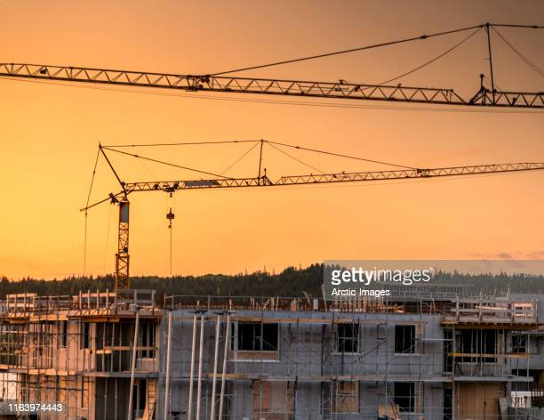 building construction and cranes at sunset. - construction material stock pictures, royalty-free photos & images
