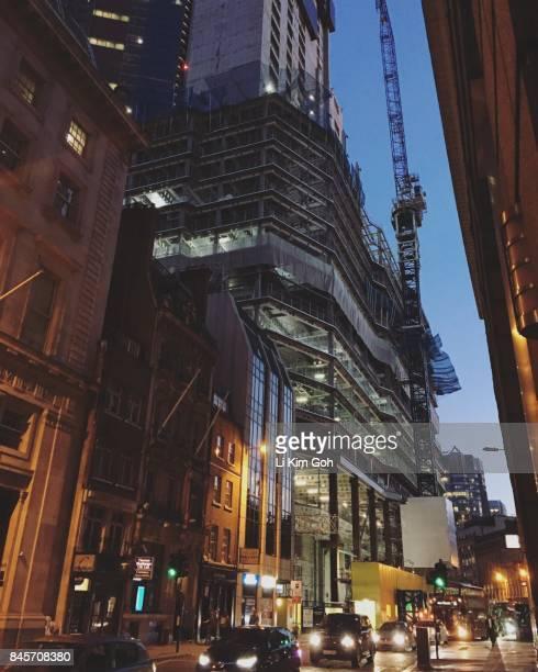 Building Construction on Liverpool Street in London at night
