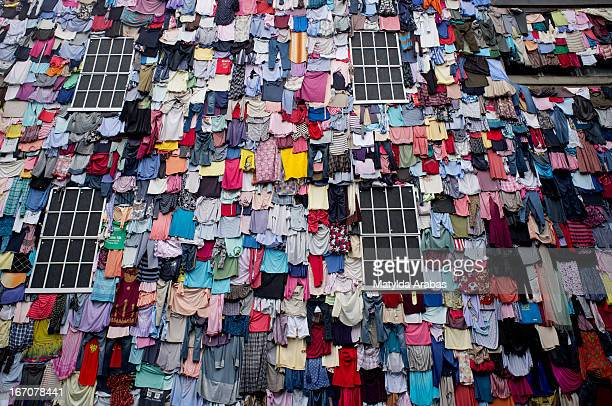 Building covered in washing.