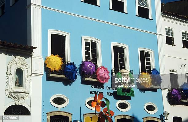 building decorated for carnival - brazilian carnival stock pictures, royalty-free photos & images