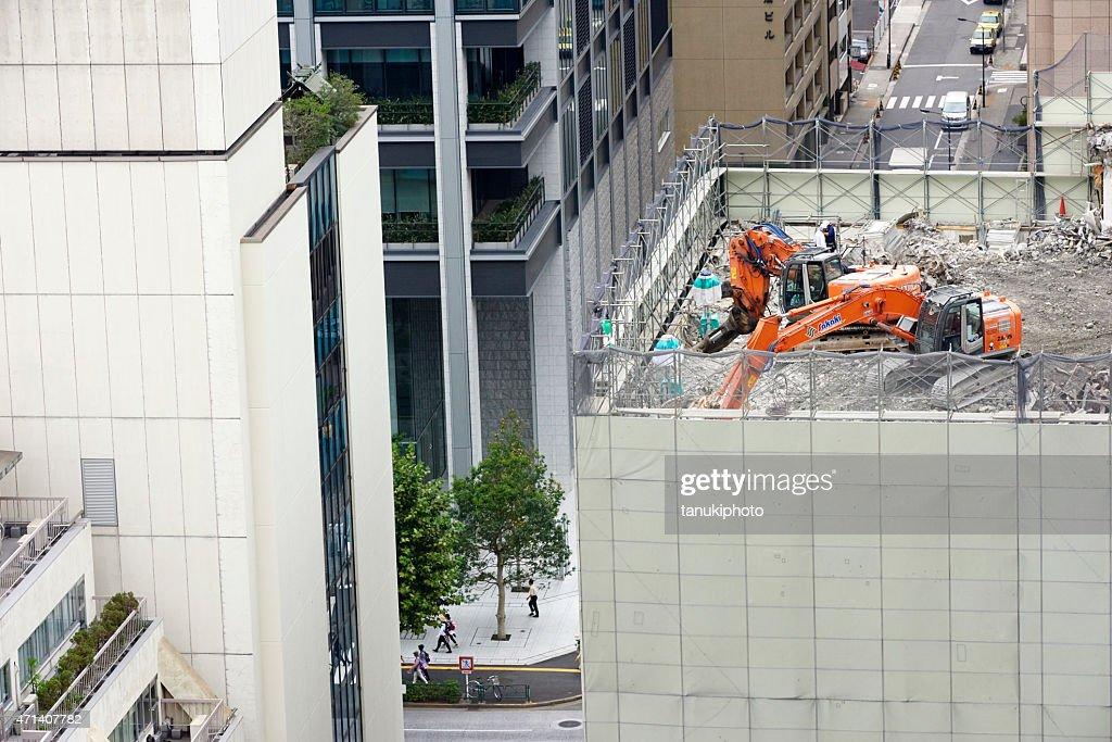 Building Demolishing in Japan : Stock Photo