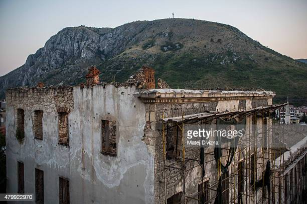 A building destroyed during the Bosnian war is seen on July 7 2015 in Mostar Bosnia and Herzegovina The newlyidentified remains of another 136...
