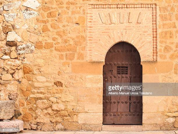Building entrance in the old muslim castle or Alcazaba in Antequera. It was made of stone.