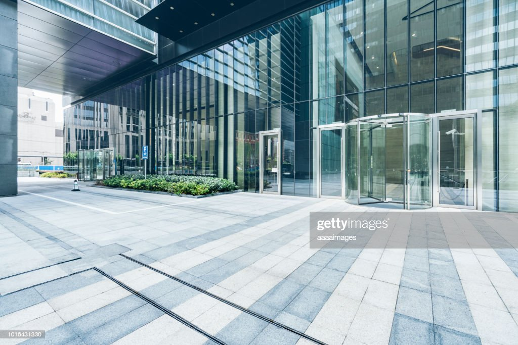 building entrance,parking lot,auto advertising backplate : Stock Photo