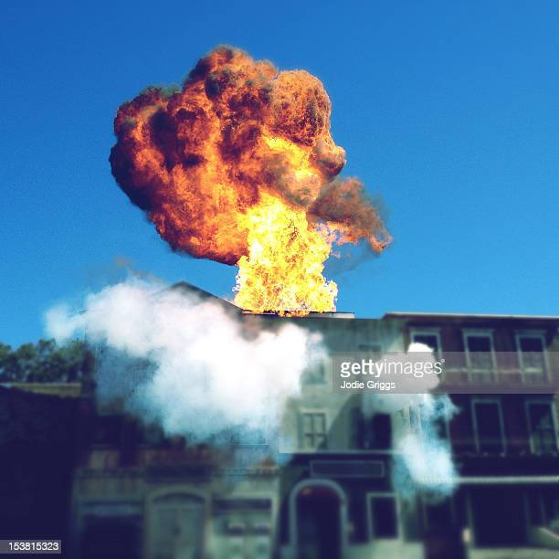 building exploding - detonate stock photos and pictures