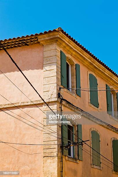 building facade with window shutters - bedarrides photos et images de collection