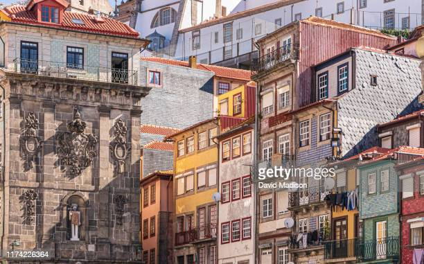 building facades on ribeira square in porto, portugal - portugal stock pictures, royalty-free photos & images