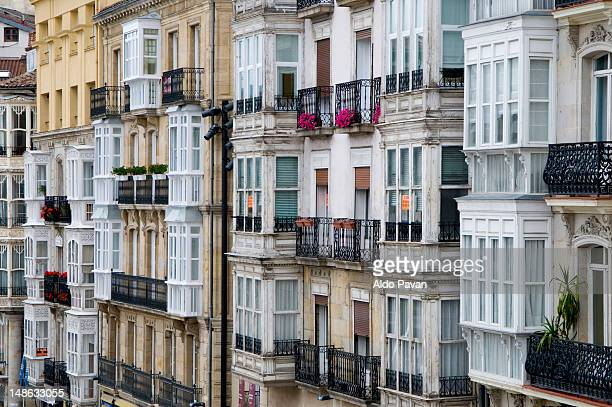 building facades. - vitoria spain stock pictures, royalty-free photos & images