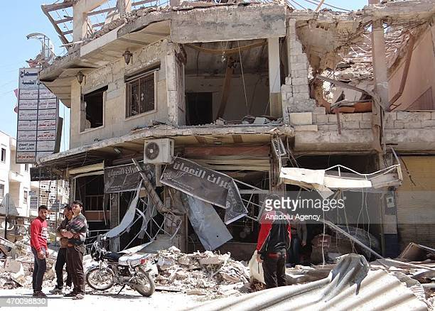 A building heavily damaged during Asad regime air forces' airstrike upon the residential areas in Serakib district of Idlib Syria's northern city on...
