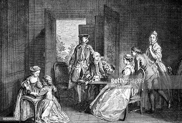 'Building Houses with Cards' 1743 Illustration from Social Caricature in the Eighteenth Century With over two hundred illustrations by George Paston...
