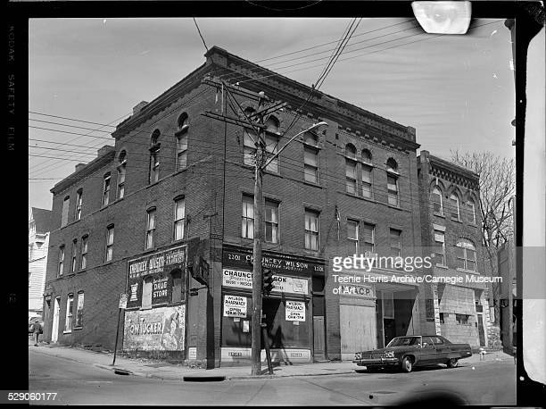 Building housing Pittsburgh branch of NAACP and Chauncey Wilson Pharmacy 2201 Wylie Avenue at Kirkpatrick Street Hill District Pittsburgh...