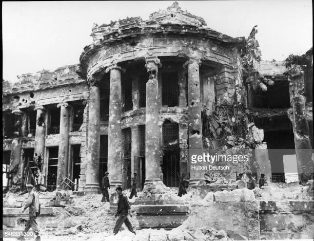 Building in Lingayen destroyed by US Navy shelling during the recapture of Luzon from Japanese forces.   Location: Lingayen, Luzon, Philippines.