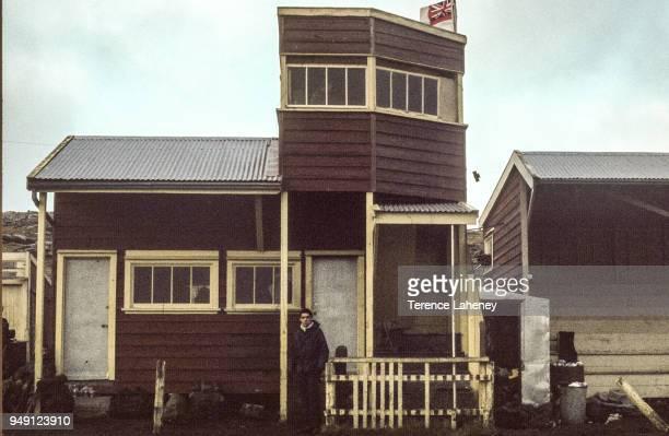 A building in Port Stanley after recapture by British troops during the Falklands War June 1982