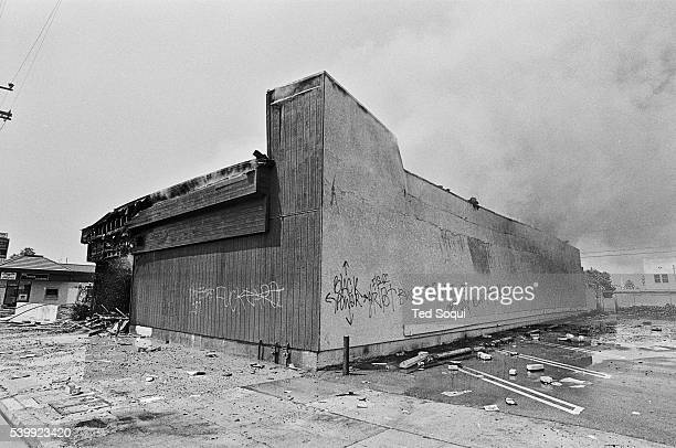 A building in South Central Los Angeles burned by rioters Los Angeles has undergone several days of rioting due to the acquittal of the LAPD officers...