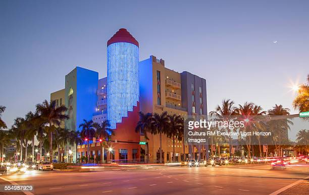 Building in the famous Art Deco District in South Beach at night, Miami Beach, Florida, USA