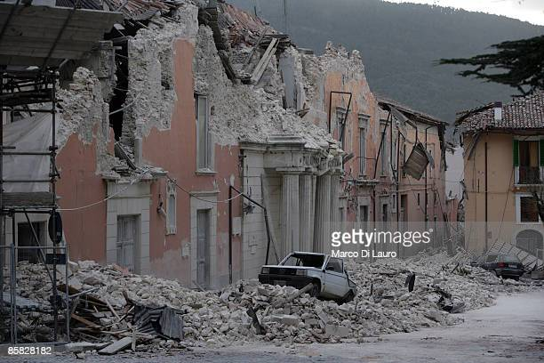 Building is damaged after an earthquake on April 6, 2009 in L'Aquila, Italy. The 6.3 magnitude earthquake tore through central Italy, devastating...