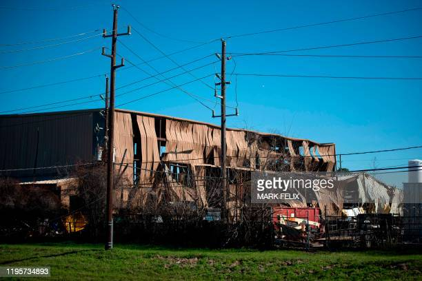 A building is damaged after an explosion at a northwest Houston Texas manufacturing business on January 24 2020 A large industrial explosion killed...
