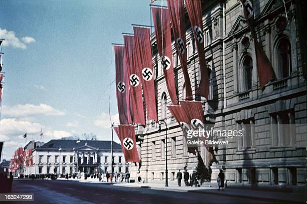 A building is decorated with swastika flags in the downtown area near the Lustgarten where Adolf Hitler chancellor of Germany delivered a speech in...