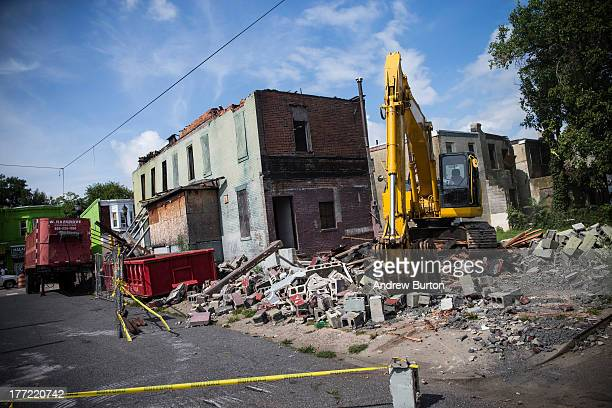Building is demolished on August 22, 2013 in the Parkside neighborhood of Camden, New Jersey. The town of Camden, which was once a large industrial...